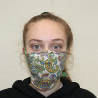 Reusable Fabric  Eco washable Face mask, unisex vintage paisley mask, Handmade