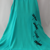 Vintage 90's Ladies green strappy dragonfly handprint dress,re worked sun dress