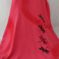 Vintage 90's Ladies red strappy dragonfly handprint dress,Summer,re worked dress