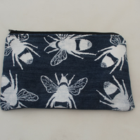 zip up blue make up bag, hand printed bee print,Eco bag,pouch,pencil case