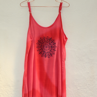 Vintage 90's Ladies red Dress, mandala screen print, Summer Beach holiday dress.