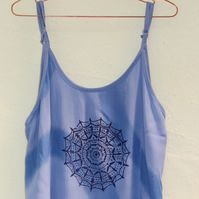Vintage 90's Ladies blue Dress mandala screen print, Summer Beach holiday dress.