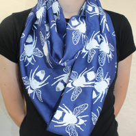 Blue and white bee print, designer scarf, hand printed,cotton blend scarf, gift