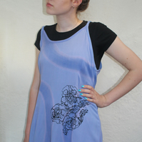 Vintage 90's Ladies blue floral strappy hand print dress,Summer,re worked dress