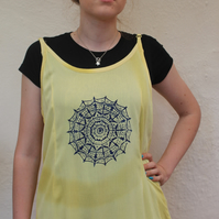 Vintage 90's Ladies yellow Dress mandala print, Summer Beach holiday dress.