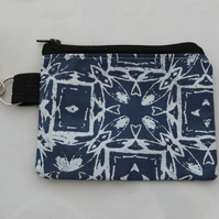 Handmade rectangular blue and white hand print cute geometric print,coin purse