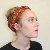 Handmade boho red silk headband, hair accessory,upcycled zero waste, Eco gift