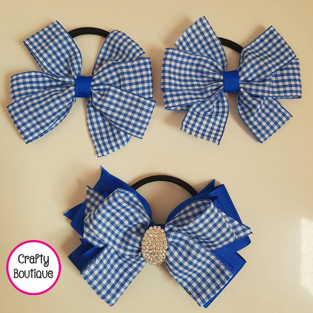 Girls Back To School Hair Bow Bobble Set of 3 School Hair Bows