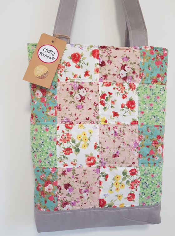 Floral Patchwork Padded Tote Bag Knitting Bag Book Bag