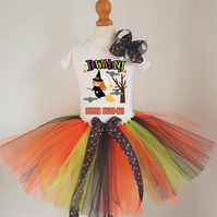 Girls Halloween Witch tutu dress outfit, Personalised Halloween costume
