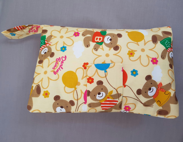 Baby Teddy Print Travel Nappy Wallet  Fully Lined Shower Gift Nursery