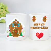 Christmas Novelty Mugs Personalised Mugs Gingerbread House Mugs Christmas Gift