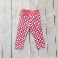Pink with white spots baby and toddler leggings 12-18 months