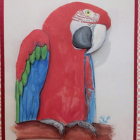 Red and Green Macaw Decoupage birthday card, original