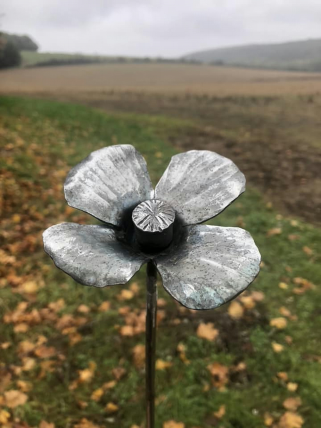 Remembrance poppy in steel - handmade in sussex