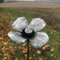 hand forged steel poppy flower for garden decor