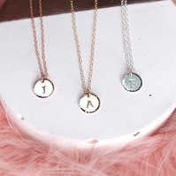 Personalised Disc Necklace with Hammered Edge