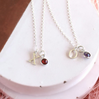Sterling Silver Initial Gemstone Necklace