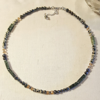 Dalmatian jasper, freshwater pearl and turquoise necklace