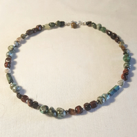 Turquoise, Tiger's Eye, Agate and Glass Necklace