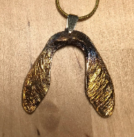 Sycamore Seed Pendant, electroformed (gold plated) in 24 karat Gold.