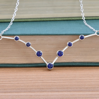 Sapphires set in sterling silver handmade necklace