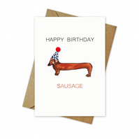 A6 Happy Birthday Sausage Card With Colour Pom Pom