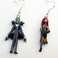 Tim Burton Nightmare Before Christmas Jack And Sally.Nightmare Before Christmas Jack Skellington And Sally Tim Burton Dangle Earrings