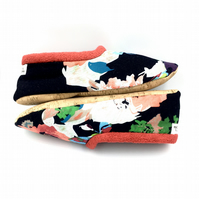 Handmade Floral Fabric Slippers with PETA Approved Cork Soles