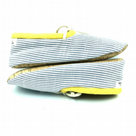 Cord Tie Vegan Slippers with Cork Soles (Blue Stripes)