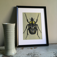 grey green and yellow beetle Lino Print