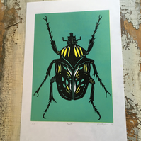 Green and yellow Beetle Lino Print