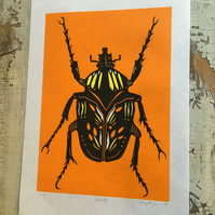 Orange Beetle Lino Print