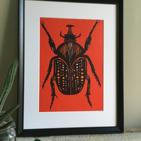 Red and Orange Beetle Lino Print