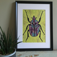 Multi Coloured Beetle Lino Print