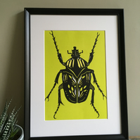 Lime and Yellow Beetle Lino Print