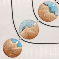 Landscape wood and resin hybrid pendant - blue