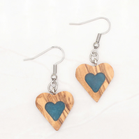 Heart wood and resin earrings - Olivewood