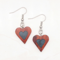 Heart wood and resin earrings - Cocobolo