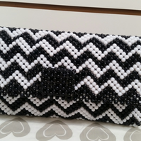 Beaded Black & White Clutch Bag