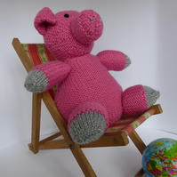 Hand knitted pig sofa buddy or ornament