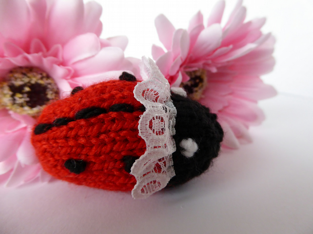 Hand knitted tiny ladybird ornament