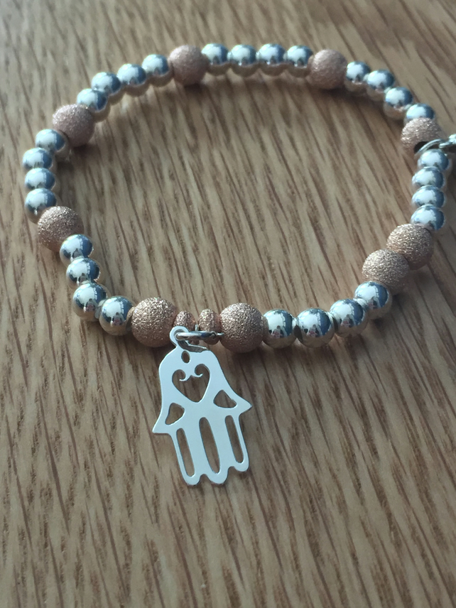925 Sterling Silver and Vermeil Rose gold Bracelet with Hamsa Hand Charm & Heart
