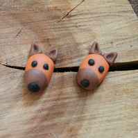 Dog Stud Earrings Brown