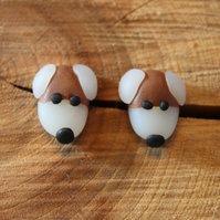 Dog Stud Earrings White