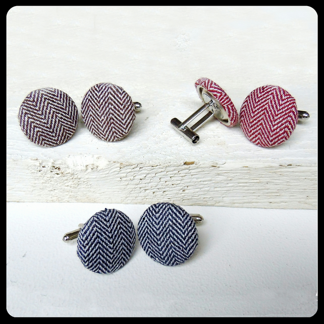 Herringbone Fabric Cufflinks