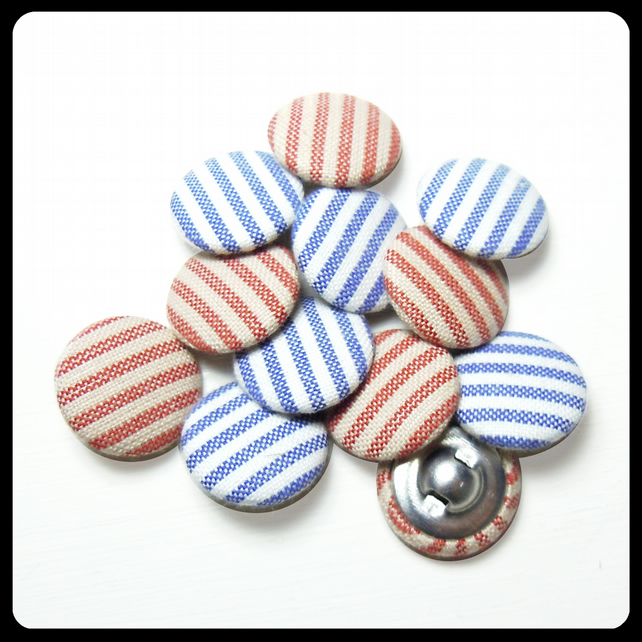 Striped Red or Blue Fabric Covered Buttons