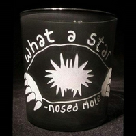 Grey Glass TumblerWater Glass. Sand-Blasted STAR-NOSED MOLE. Mole Lover's Gift.