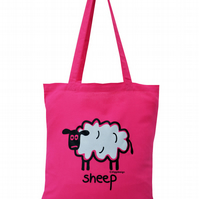 Fluffy! SHEEP Tote Bag. 100% Cotton. Gorgeous Hot Pink.