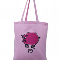 Oink! PIG Tote Bag. 100% Cotton. Cute Baby Pink.